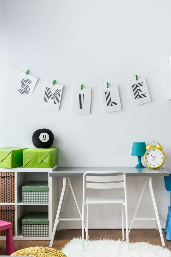 Cute Kid Desk with Wall Lettering Design