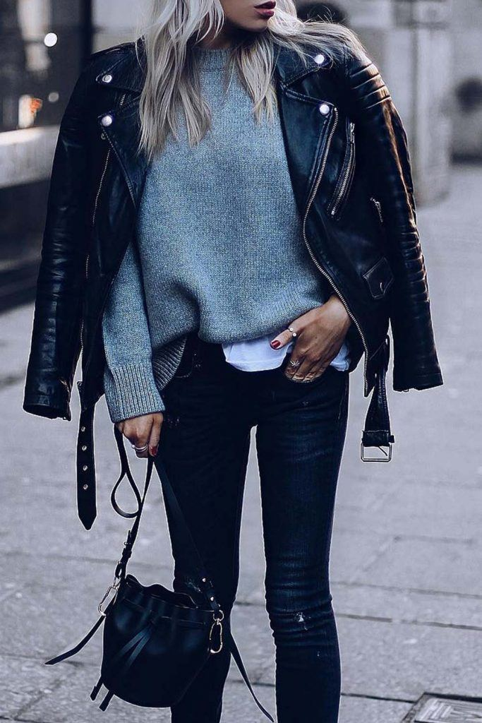 Leather Jacket, Sweater and Black Jeans Outfit
