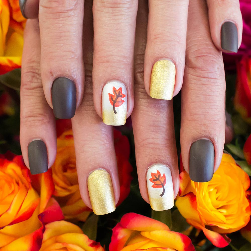 Fall Nails with Leaves