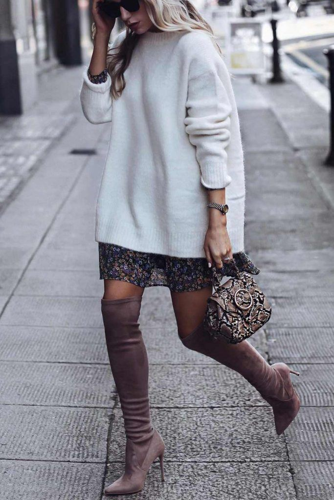 OTK Boots with Sweater and Dress Underneath