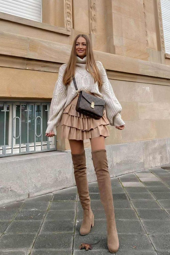 Over The Knee Boots with Ruffled Skirt