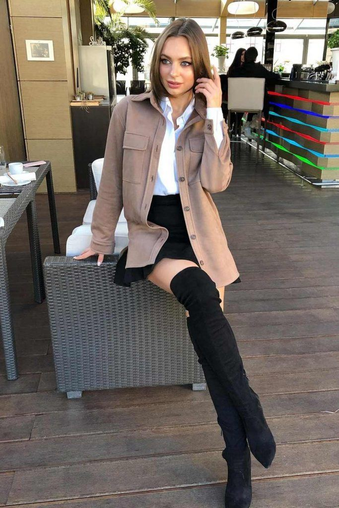 Office Look with Over The Knee Boots