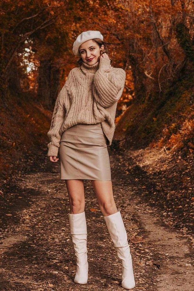 Beige Look with High Boots