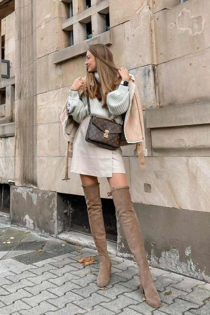 Over The Knee Boots with Skirt and Sweater