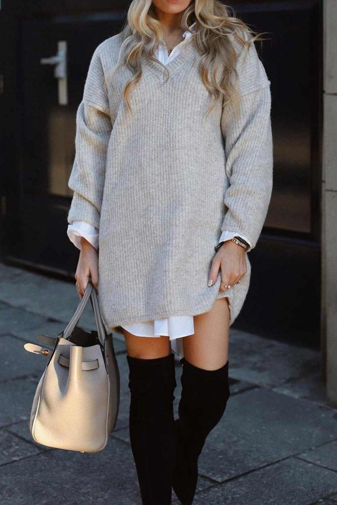 OTK Boots with Sweater Dress and Shirt