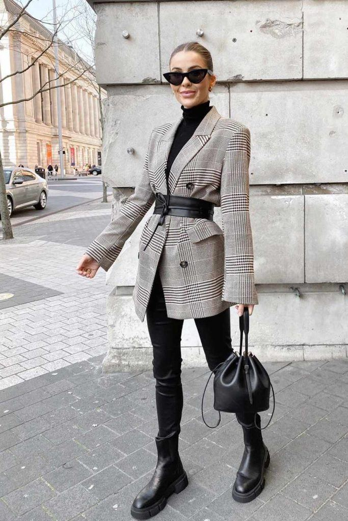 Preppy Style Look with Belted Blazer