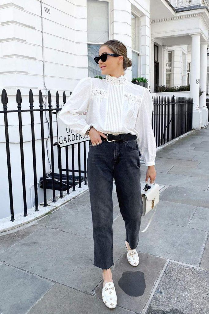Preppy Look with a Vintage Blouse