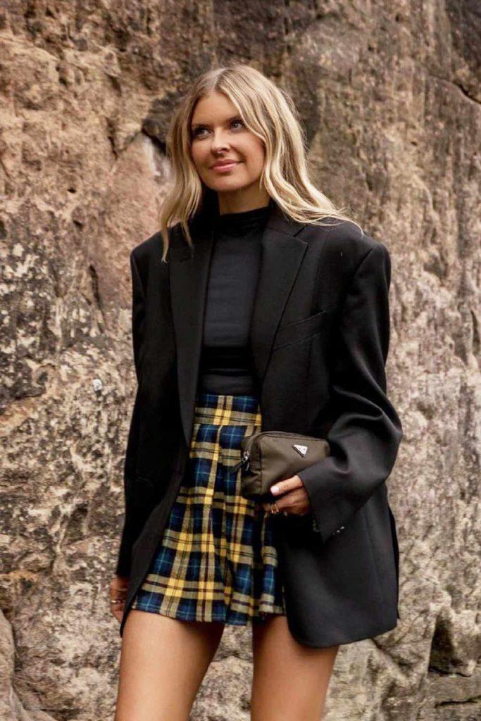 Plaid Skirt with Oversize Blazer