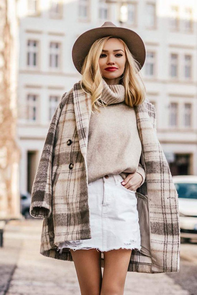 Preppy Look with Plaid Coat