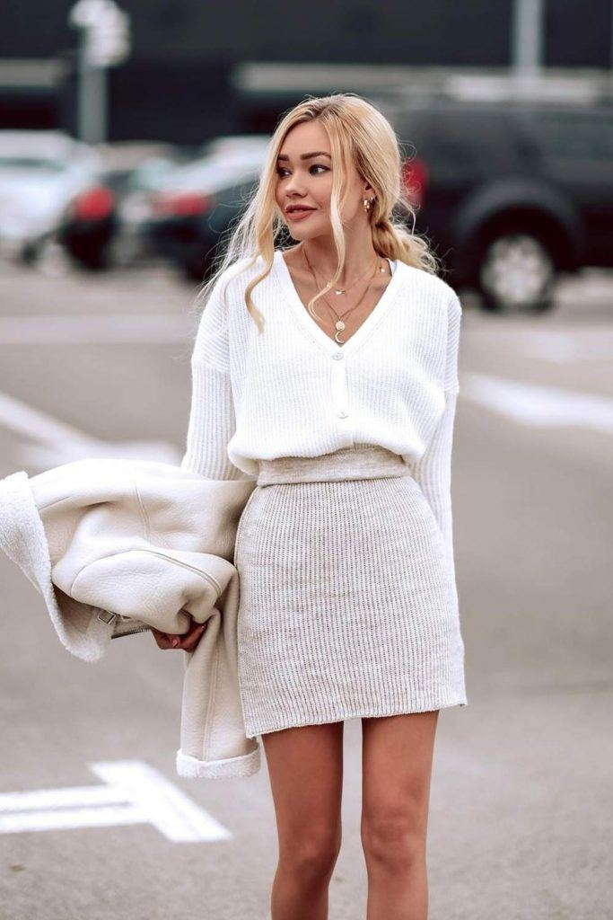 Skirt and Sweater Look