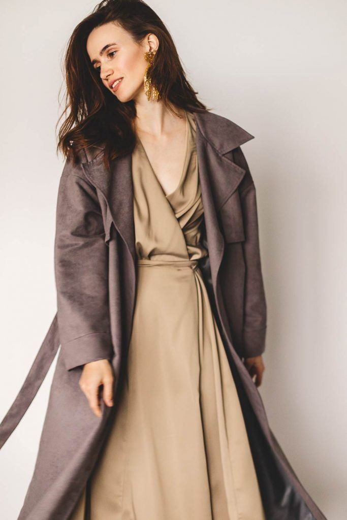Trench Coat with Silk Dress