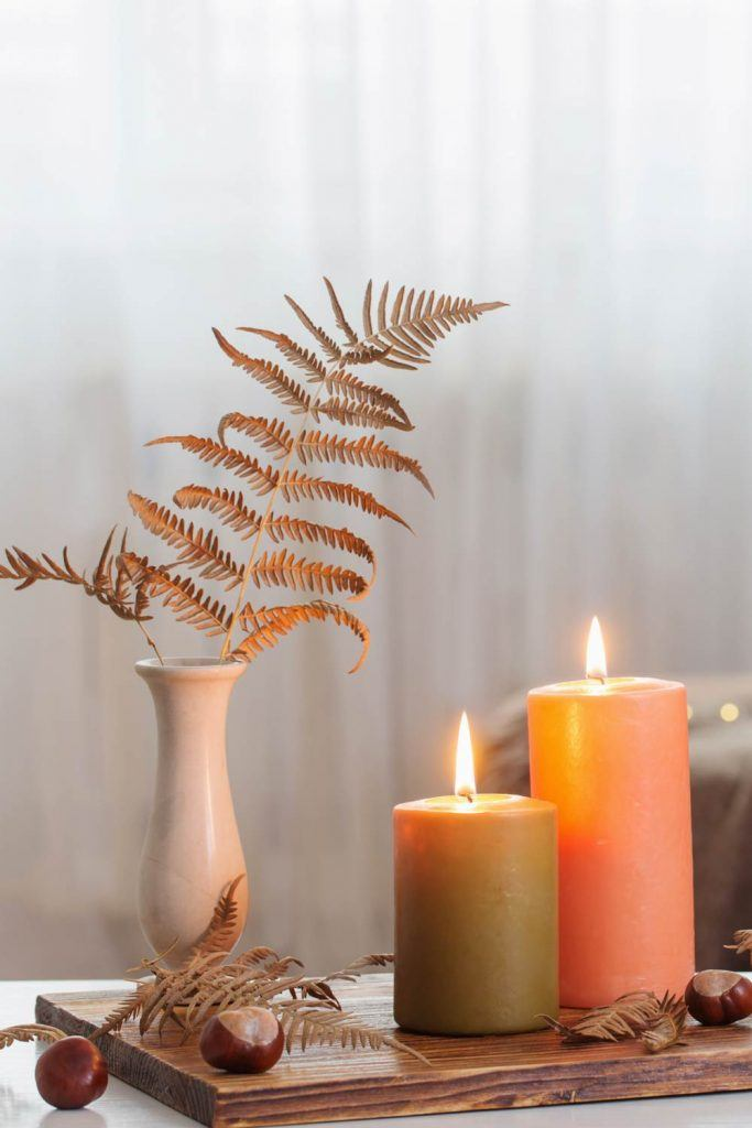 Fall Decorations with Candles and Chestnuts