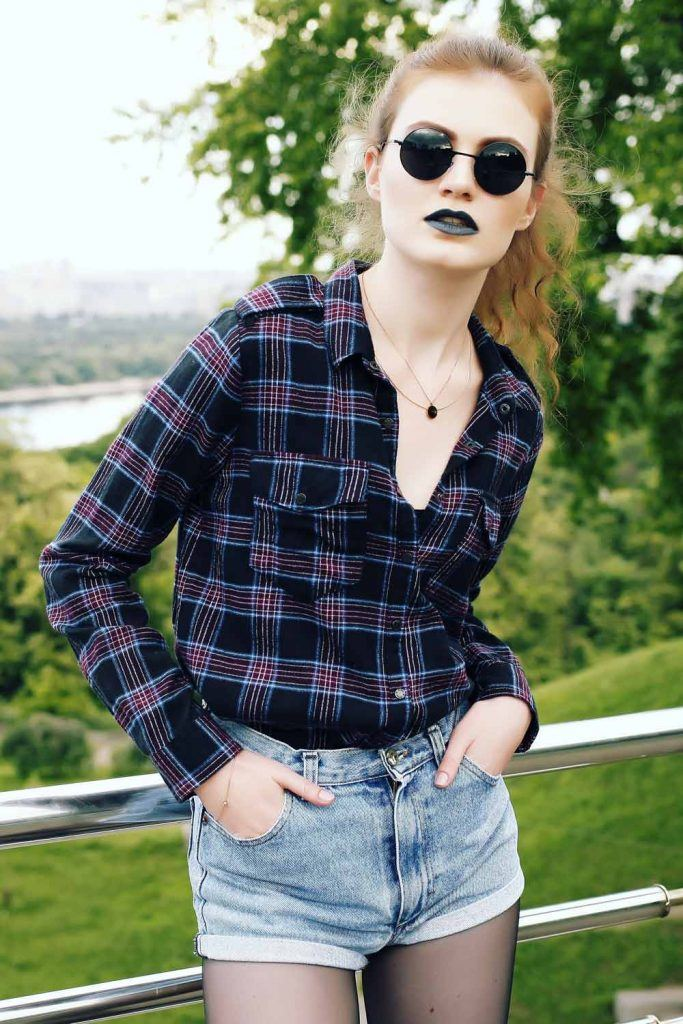 Grunge Style with Flannel Shirt