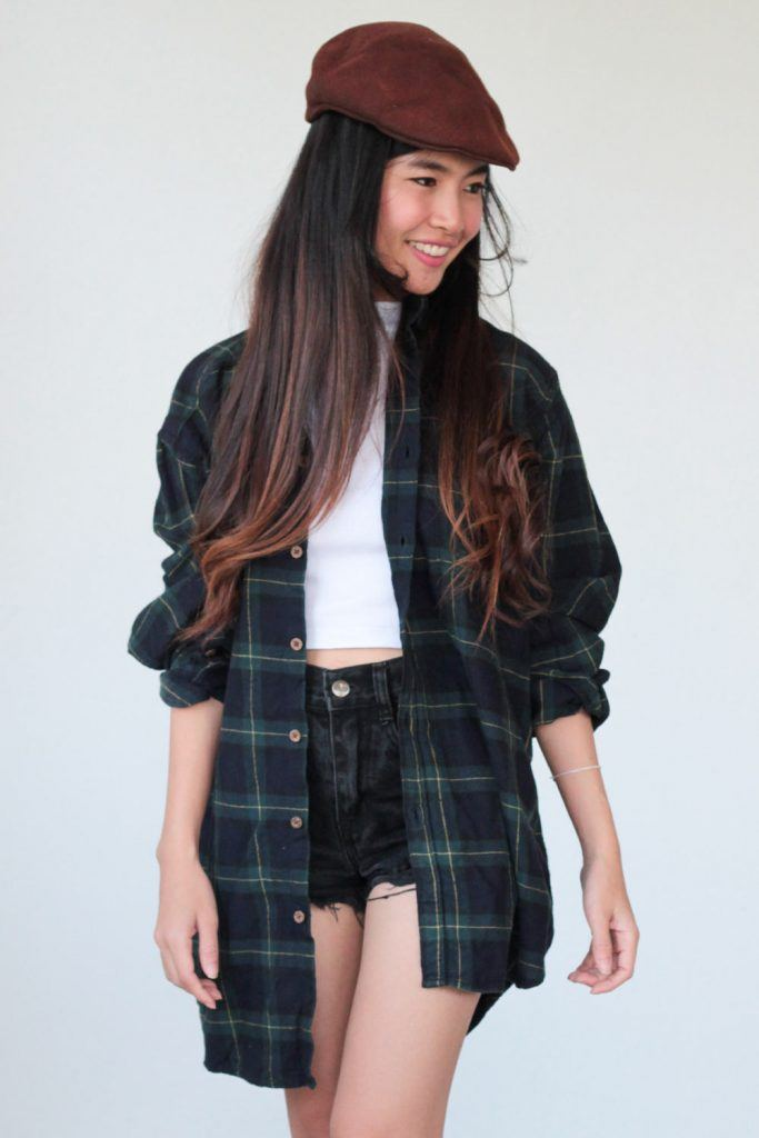 Flannel Shirt and Shorts Outfit Idea