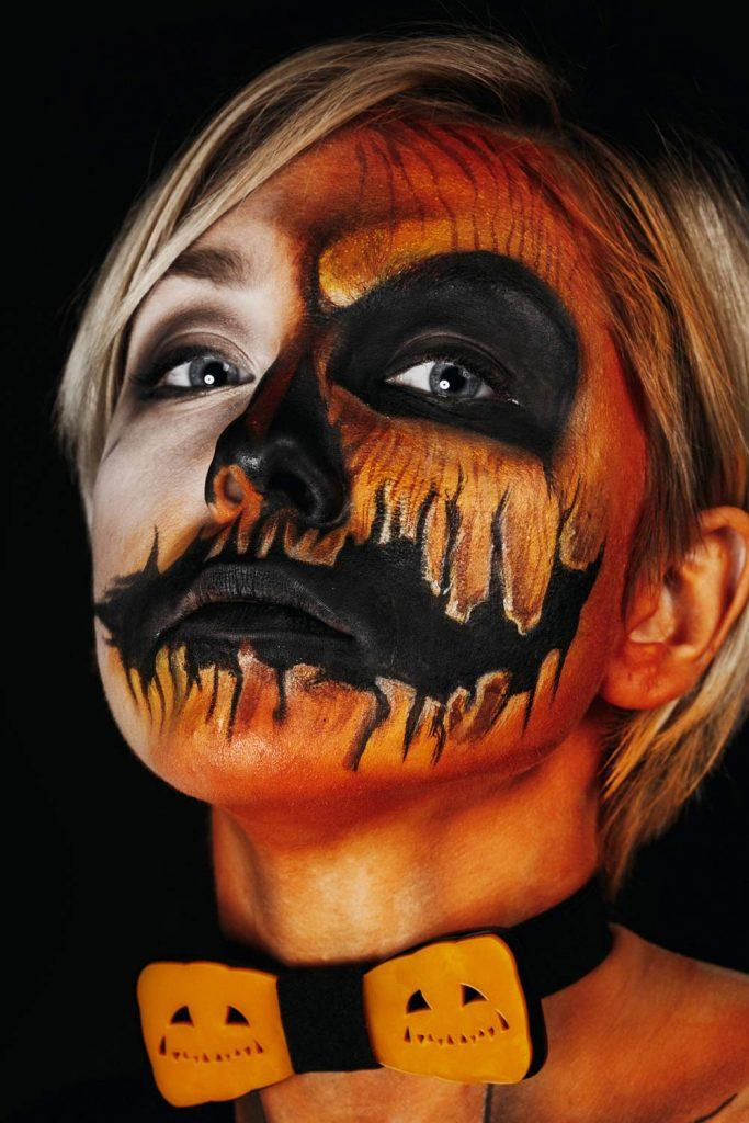 Half Face Pumpkin Halloween Makeup