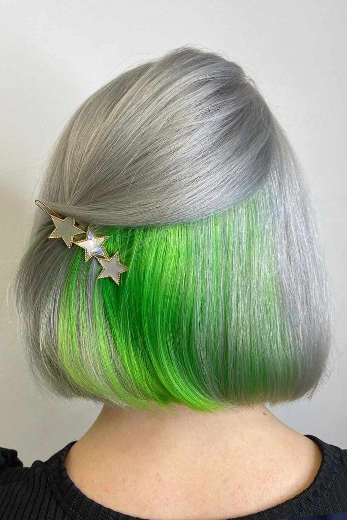 Silver and Hided Green Color