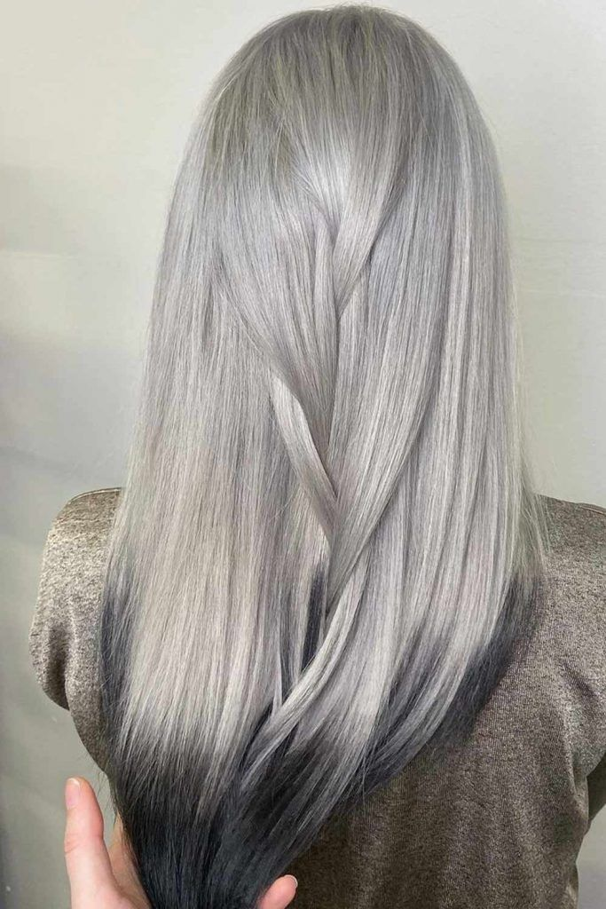 Silver Hair with Black Tips