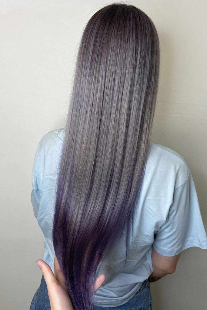 Silver Hair with Purple Ombre