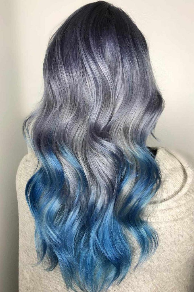 Silver Hair with Blue Ombre