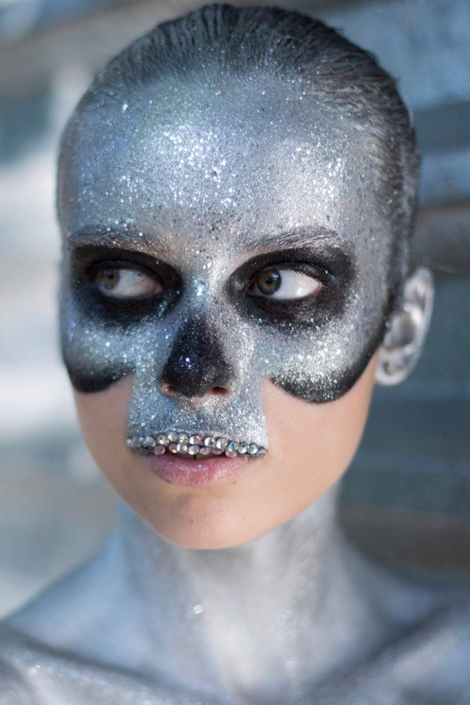 Skeleton Makeup with Glitter