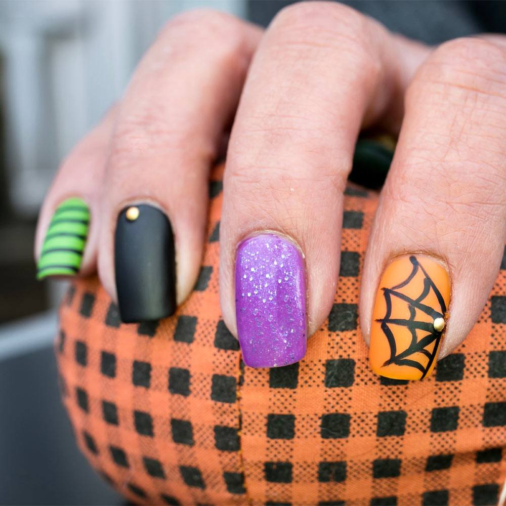 Creative Halloween Nails with Spider Web