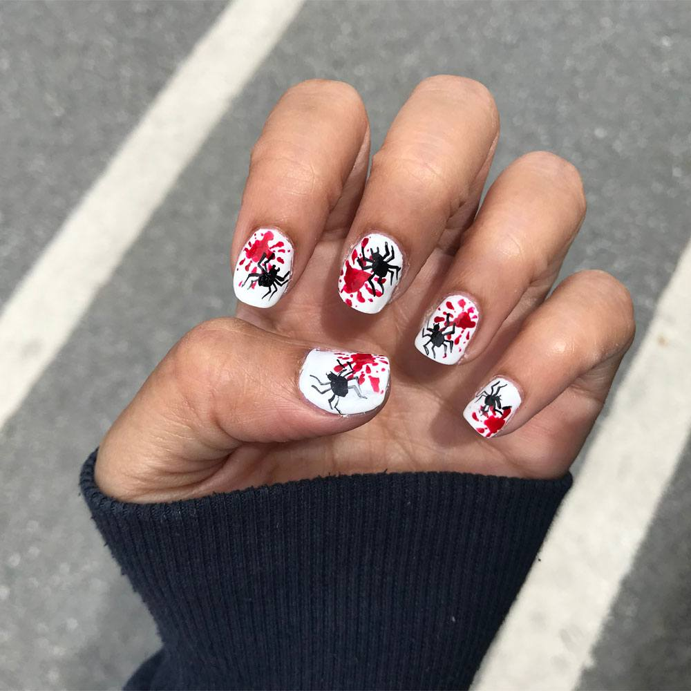 Halloween Nails with Spiders
