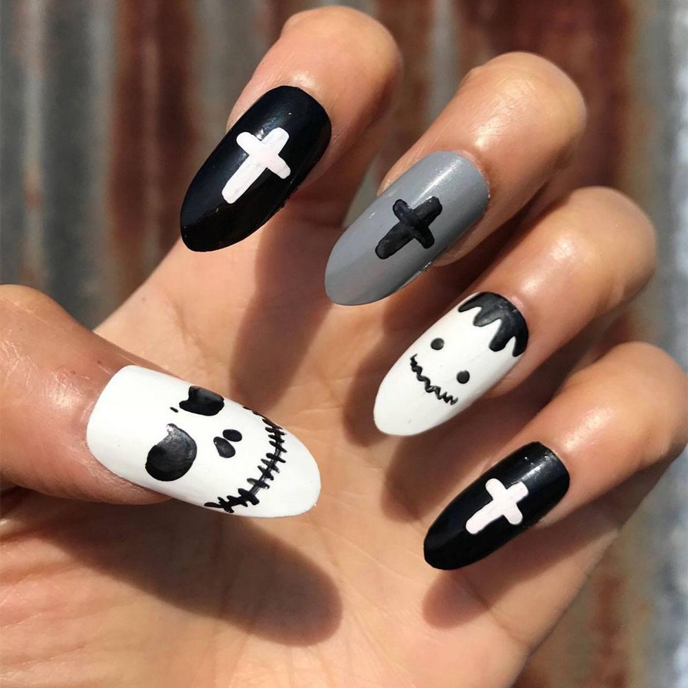 White Black and Gray Halloween Nails Art