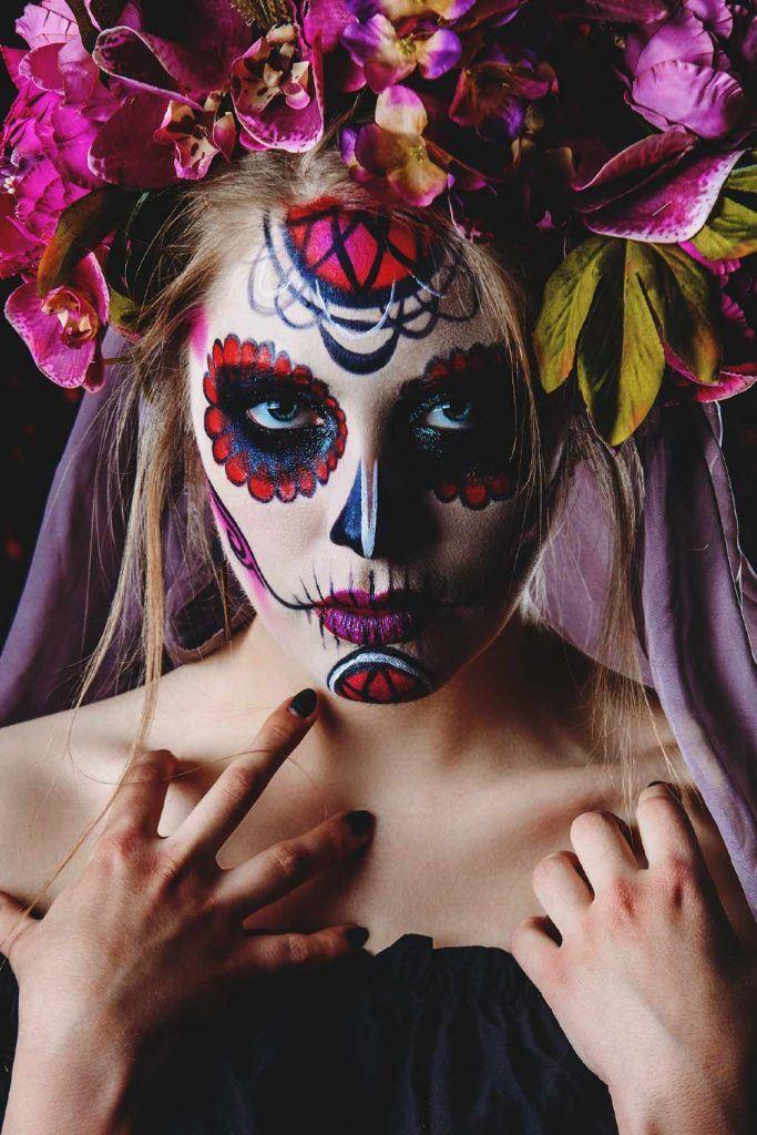 Halloween Makeup with Sugar Skull Makeup