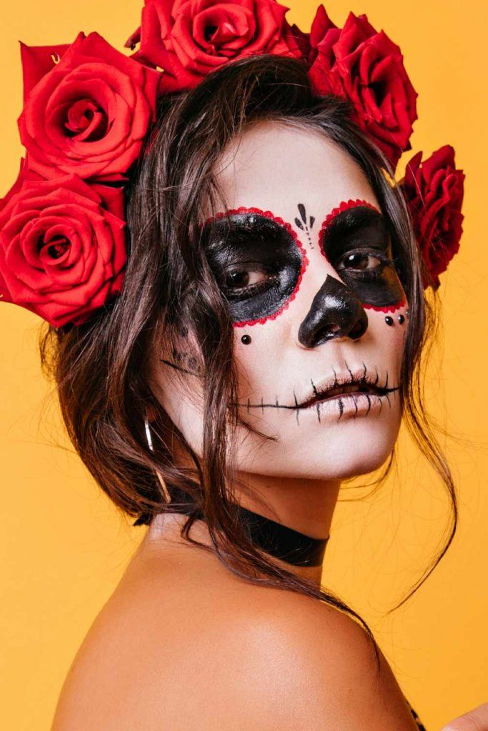 Sugar Skull Makeup with Floral Wreath