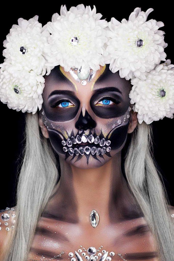 Sugar Skull Makeup with Rhinestones