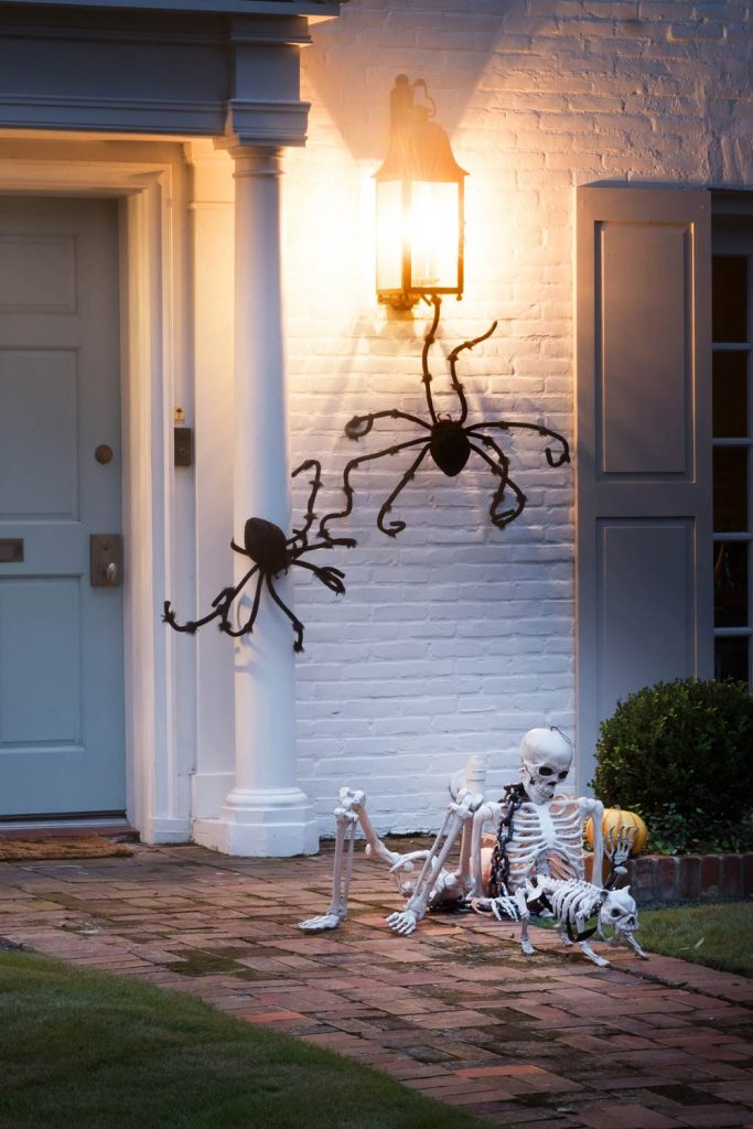 Spooky Outdoor Halloween Decoration with Spiders